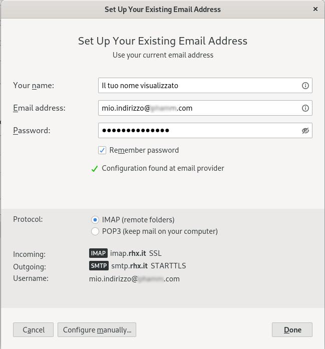 Configurazione automatica email con Thunderbird