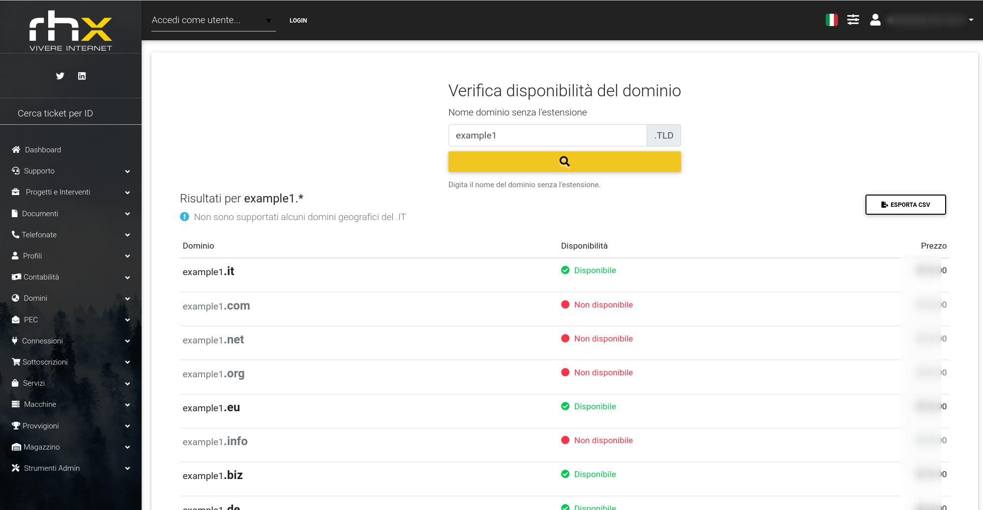 Pannello gestione domini EPP e hosting per Registrar
