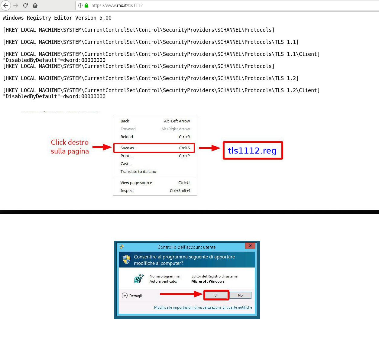 Attivare supporto TLS1.1 e TLS1.2 su Windows Seven