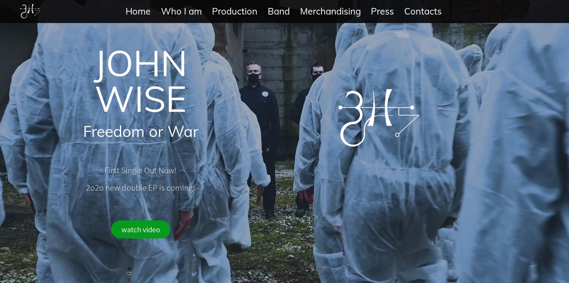 Sito web per l'artista John Wise